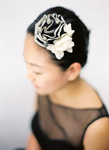 Style ELISA: Silk Pleated Ruffle Rosette Head Topping - Peony Rice