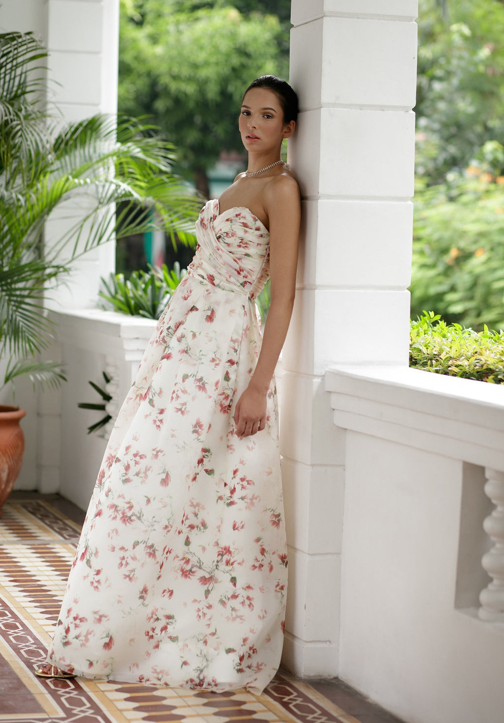 Style: ROSE Pleated Sweetheart Bandeau Pleated A Line Gown - Peony Rice