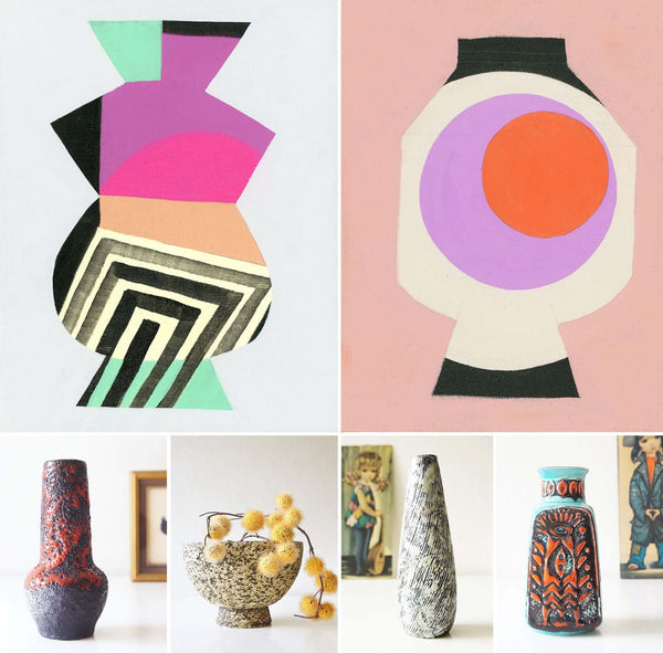inaluxe paintings seen with retro vintage vases