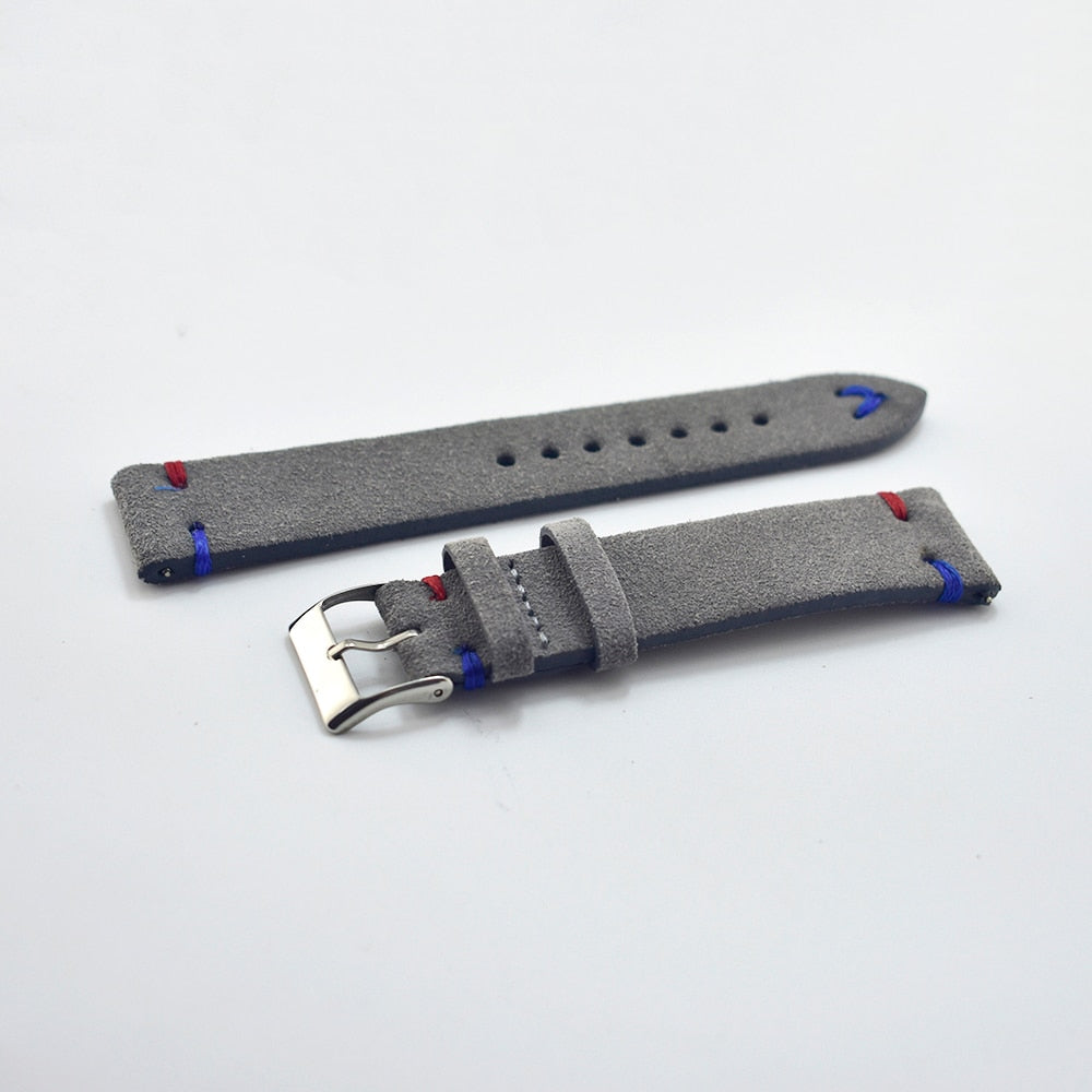 Comfort Gray Handmade Suede Leather Strap
