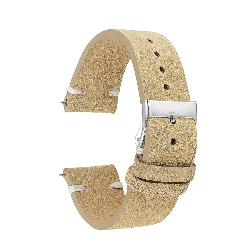 Khaki Handmade Suede Leather Strap