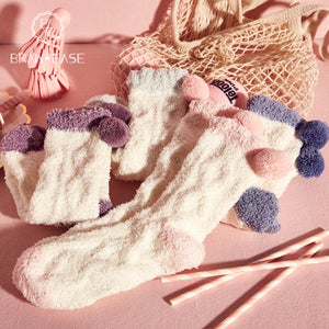 BrawEase Candy Flannel Socks with Fluffy Ball(4 Sets)