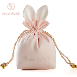 BrawEase Pink Cute Rabbit Ear Storage Bag