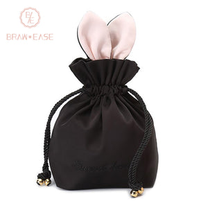 BrawEase Black Cute Rabbit Ear Storage Bag