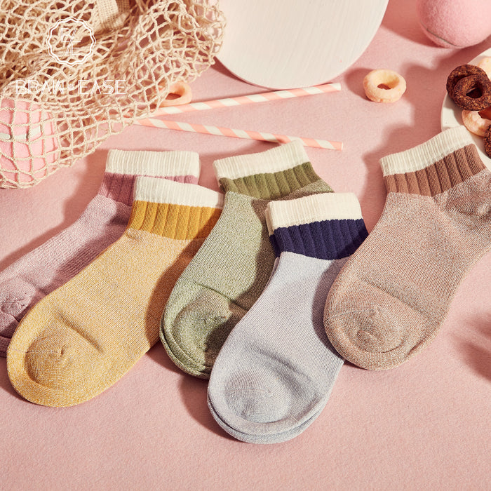 BE Regular Colorful Short Socks(5 Sets)