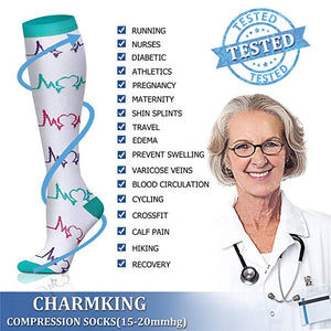 Compression Socks for Women & Men 7 Pairs 15-20 mmHg is Best Graduated Athletic, Running, Flight, Travel, Nurses