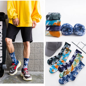 Hip Hop Skateboard Sports Maple Leaf Tie Dye Cotton Crew Socks Braw Ease 01