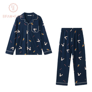 BrawEase Mens Rabbit Carrot Print Cotton Long Sleeve Pajama Set