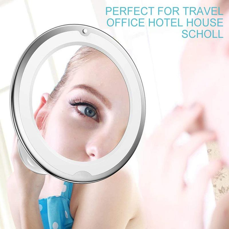 Round Lighted Wall Mount 10x Magnifying Makeup Mirror