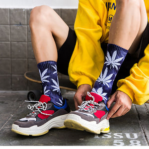 Hip Hop Skateboard Sports Maple Leaf Tie Dye Cotton Crew Socks Braw Ease 03