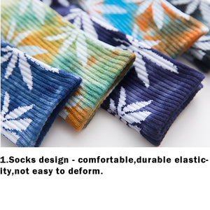 Hip Hop Skateboard Sports Maple Leaf Tie Dye Cotton Crew Socks Braw Ease 06