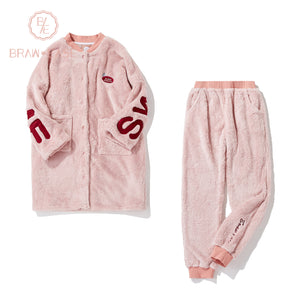 BrawEase Womens Alphabet Flannel Button Up Long Sleeve Pajama Set