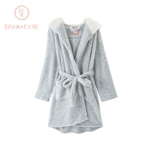 BrawEase Grey Womens Bear Hoodie Self Belted Night Robe