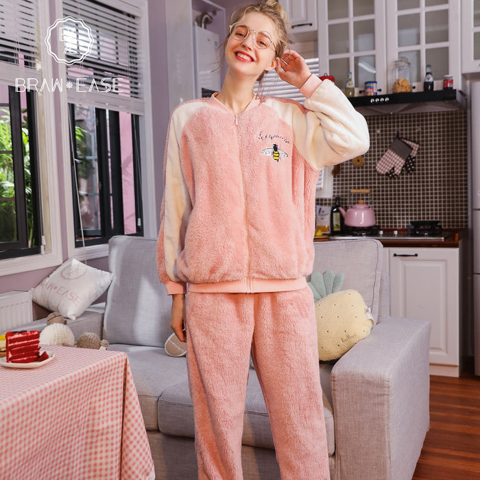 Womens Embroidery Bee Pattern Flannel Pajama Set