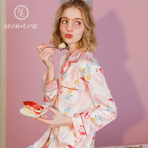 Womens Flamingo Satin Button Up Long Sleeve Pajama Set