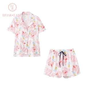 BrawEase Womens Flamingo Satin Button Up Short Sleeve Pajama Set with Shorts
