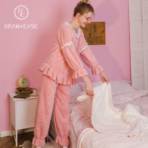 BrawEase Womens Flannel Long Sleeve Pajama Set