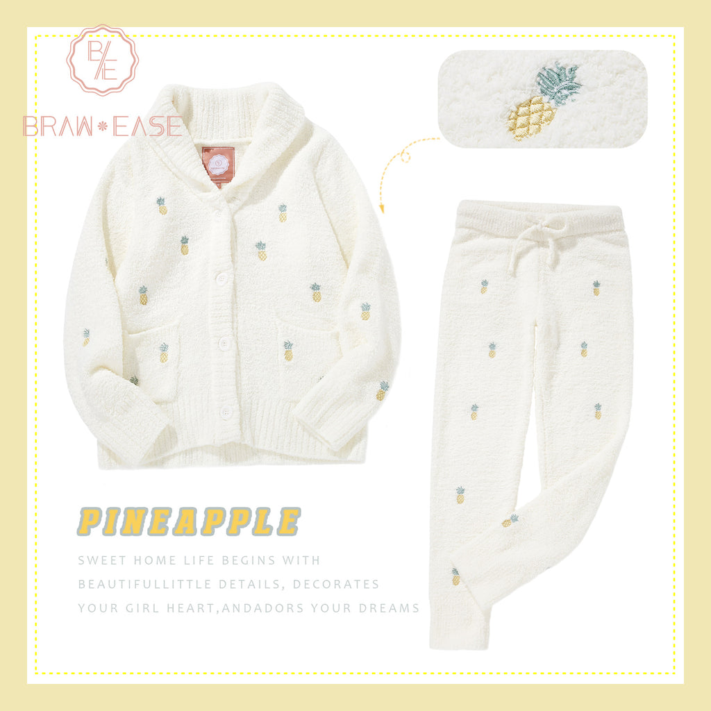BrawEase Pink Womens Pineapple Flannel Button Up Long Sleeve Pajama Set