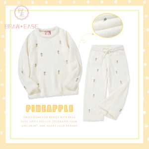 BrawEase White Womens Pineapple Flannel Long Sleeve Pajama Set