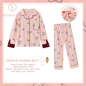 BrawEase Pink Womens Rabbit Carrot Print Cotton Long Sleeve Pajama Set
