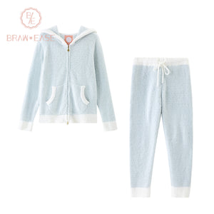 BrawEase Light Blue Womens Rabbit Ear Flannel Long Sleeve Zipper Pajama Set