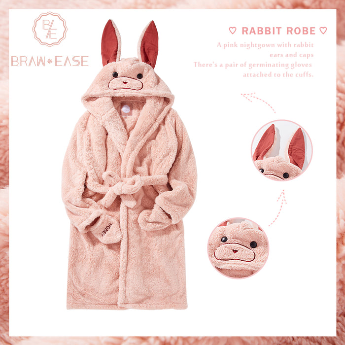 Womens Rabbit Ear Hoodie Self Belted Night Robe