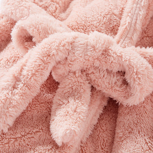 BrawEase Womens Rabbit Ear Hoodie Self Belted Night Robe Detail
