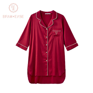 BrawEase Red Womens Satin Button Up Short Sleeve Nightgown
