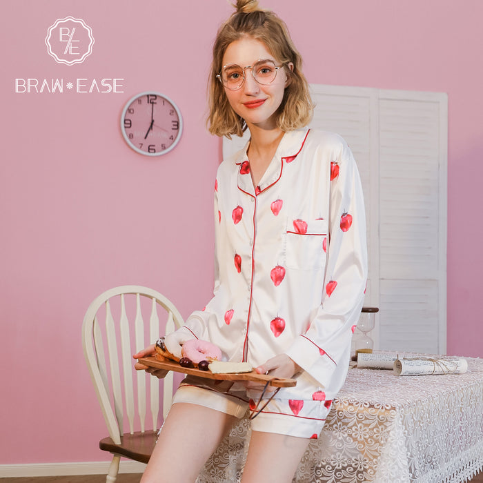 Womens Strawberry Satin Button Up Long Sleeve Short Pajama Set