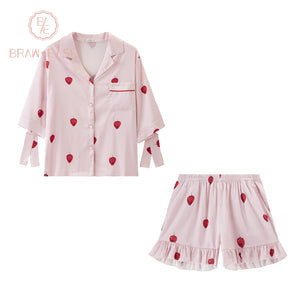 BrawEase Womens Strawberry Satin Button Up Pink Short Sleeve Pajama Set with Shorts