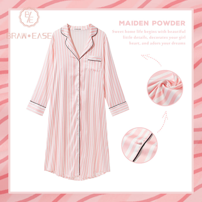 Womens Stripe Satin Button Up Long Sleeve Nightgown