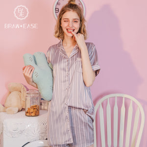 BrawEase Womens Stripe Satin Pajama Set with 3 Styles