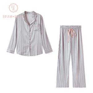 BrawEase Womens Stripe Satin Long Sleeve Pajama Set