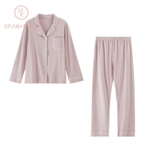 BrawEase Pink Womens Woven Cotton Long Sleeve Pajama Set