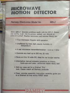 Ramsey Microwave Motion Detector MD-3 Kit