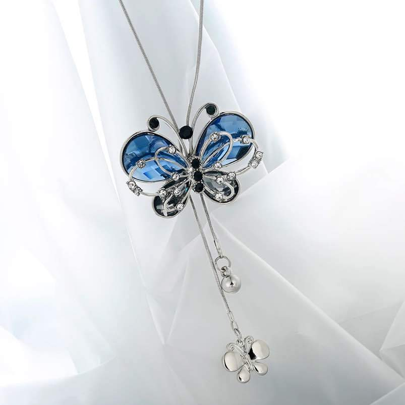 Sparkling Blue Butterfly Necklace