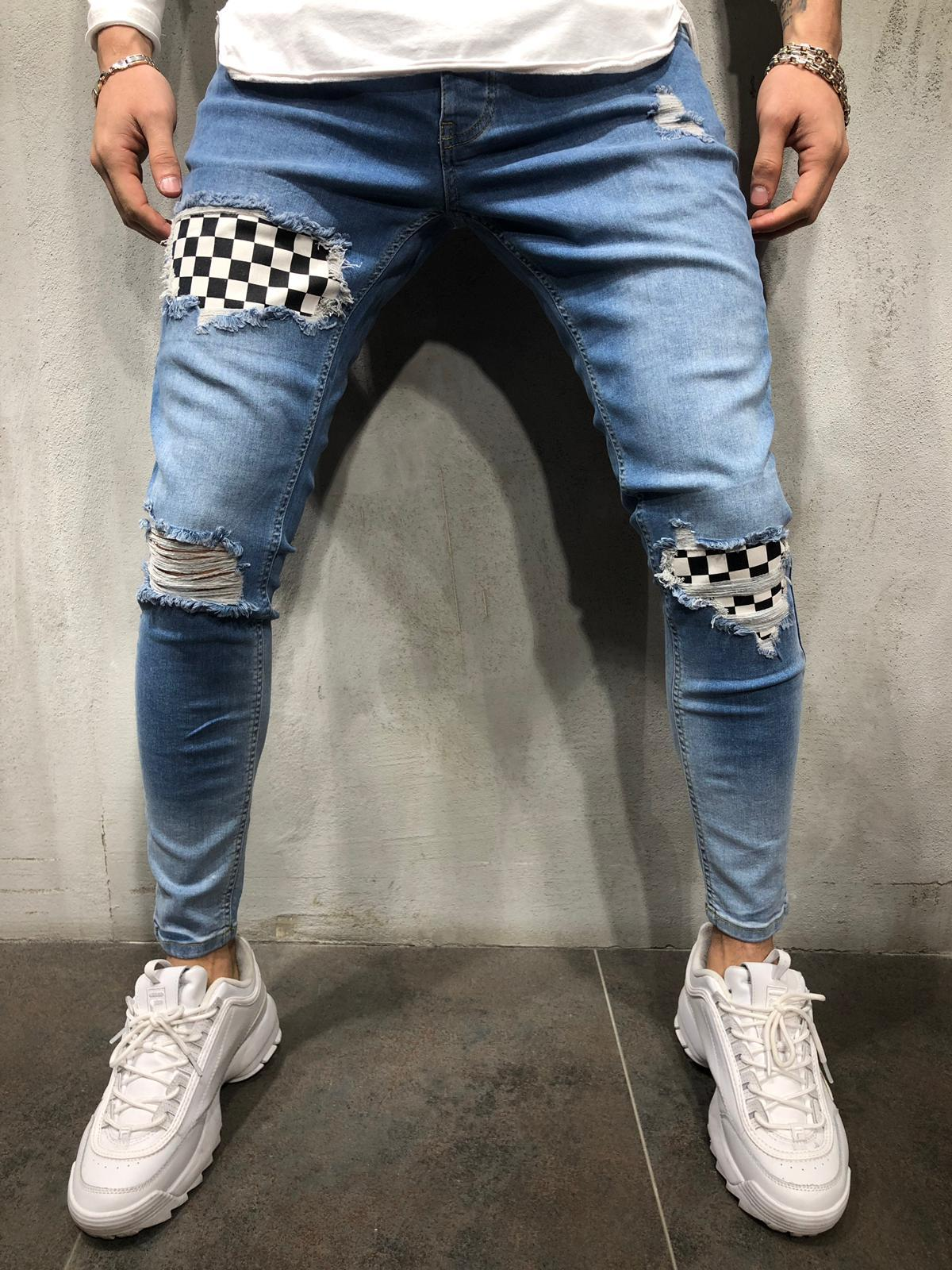 Ripped Jeans Checkered Patches 4179
