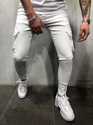 White Jeans Cargo Pockets 4272