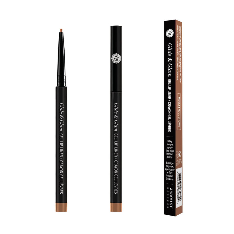 Glide & Glam Gel Lip Liner by ABSOLUTE NEW YORK in Nude Brown (MDGL14) - is a natural brown nude. Waterproof, long-lasting, creamy formula with an ultra-fine tip for precise application. 0.004 oz/ 0.12 g - Paraben Free, Sulfate Free, Phthalate Free, Fragrance Free; 100% Cruelty-Free.