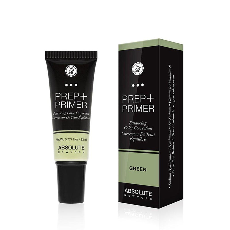Absolute New York Prep + Primer (Green) - a weightless, green color-correcting face primer in a squeeze tube. Best suited for neutralizing redness on light to medium skin tones.
