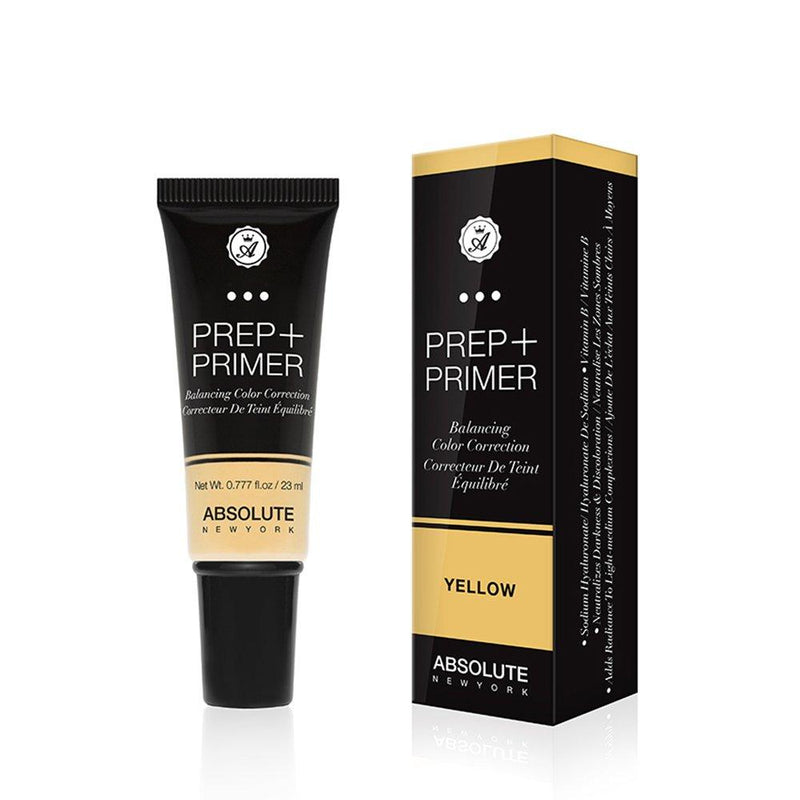 Absolute New York Prep + Primer (Yellow) - a weightless, yellow color-correcting face primer in a squeeze tube. Best for neutralizing blue and purple-toned darkness and brightening dull complexions on fair skin tones.