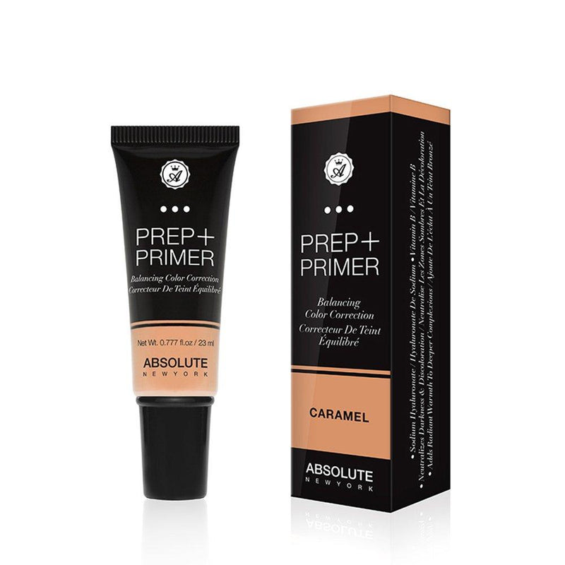 Absolute New York Prep + Primer (Caramel) - a weightless, apricot color-correcting face primer in a squeeze tube. Best for neutralizing dark under-eye circles on medium to dark skin tones.