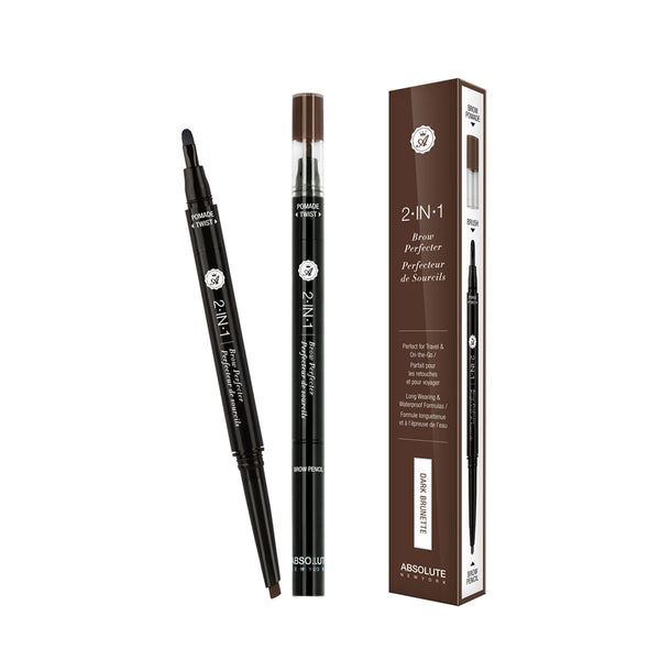 2-in-1 Brow Perfecter (Dark Brunette) - double-ended eyebrow pencil and mini eyebrow pomade and brush, in neutral brown. Best suited for brunettes.