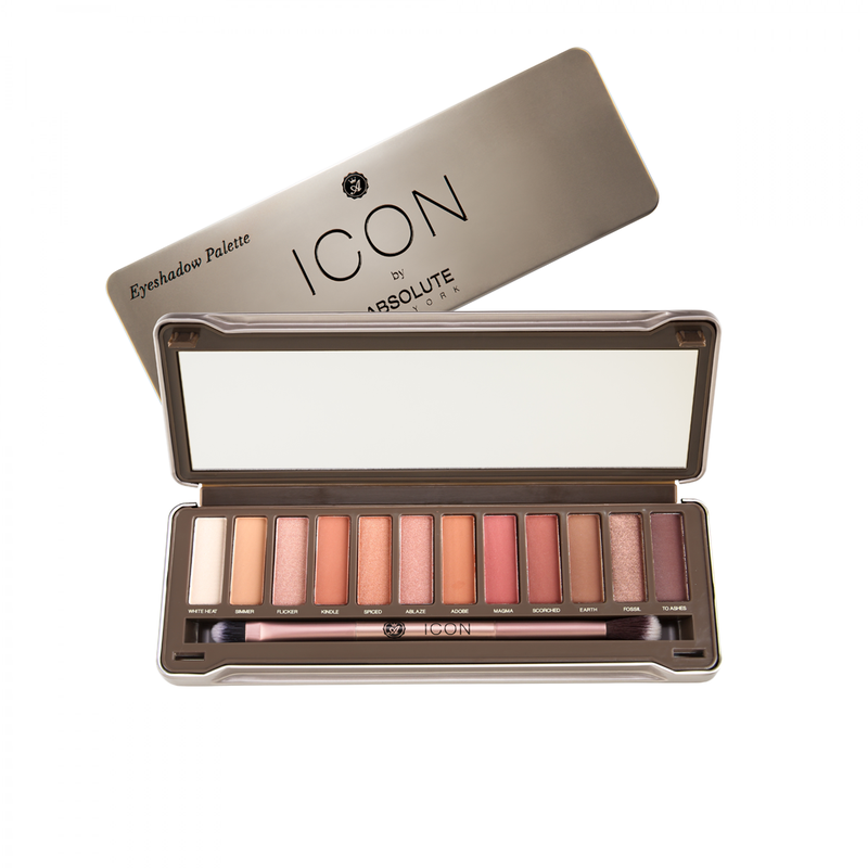 Icon Palette by Absolute New York in Wildfire features 12 amber-toned hues, with warm browns, burnt oranges, rich sienna's, soft nudes, a full-size mirror, and a double ended eyeshadow and blending brush, to create a warm, neutral or glam eye look.