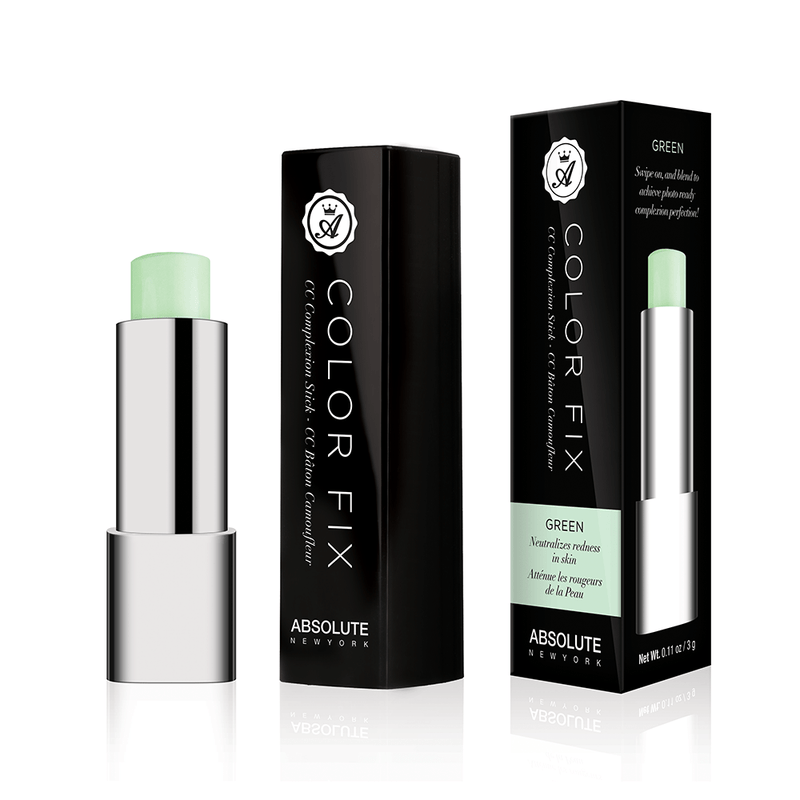 Pastel green, cream color-correcting concealer in retractable click pen packaging, from Absolute New York.