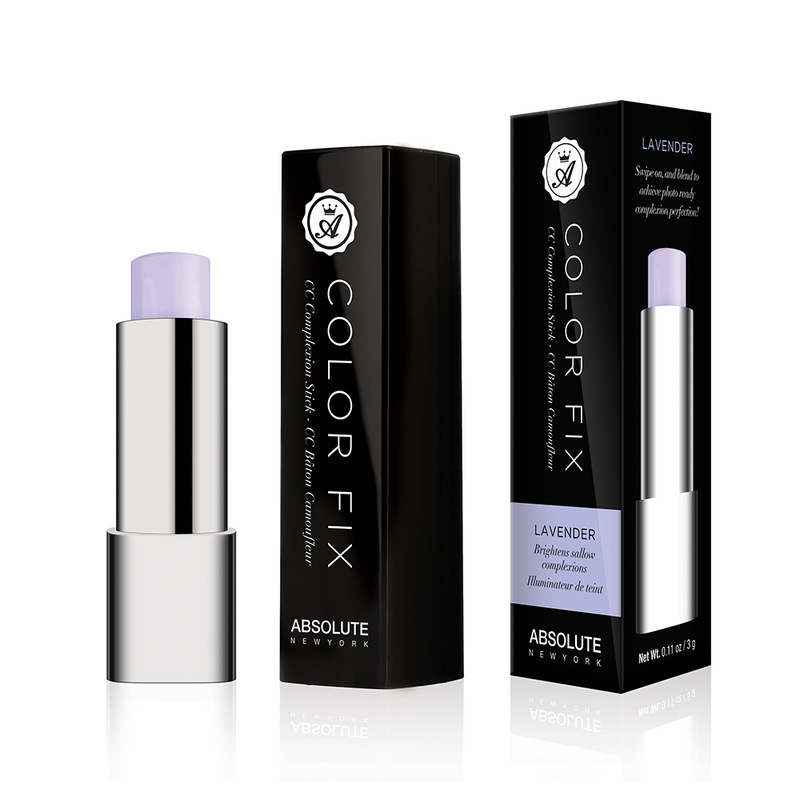 Pastel purple (lilac), cream color-correcting concealer in retractable click pen packaging, from Absolute New York.