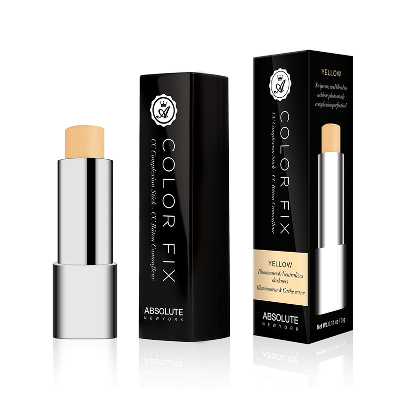 Pastel yellow (light yellow), cream color-correcting concealer in retractable click pen packaging, from Absolute New York.