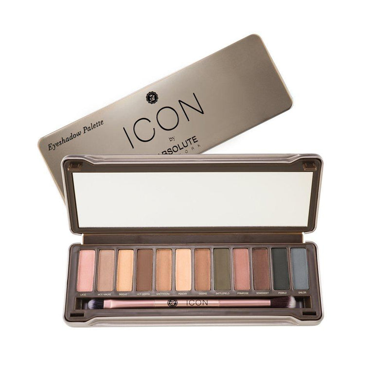 Icon Palette by Absolute New York in Exposed (Matte) - 12 taupe-hued neutrals, from fair nudes to smokey grays, a full-size mirror, and a double ended eyeshadow and blending brush, for eye-brightening neutral looks to sultry, smokey eyes.