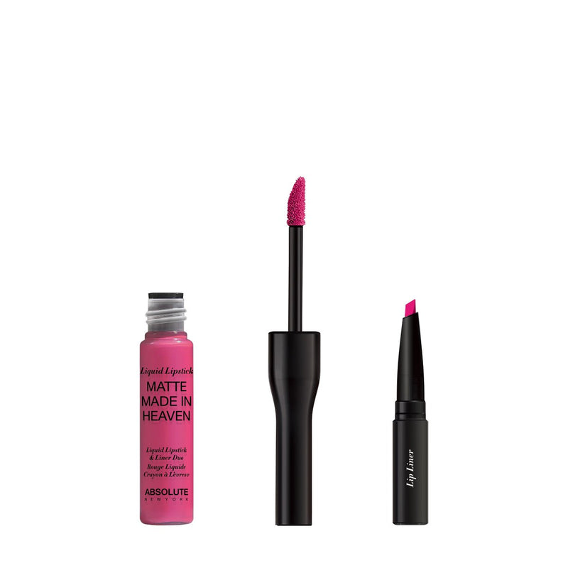 Matte Made in Heaven by ABSOLUTE NEW YORK in Hyped (MLIH03) - is a hot pink matte liquid lipstick & liner duo. Twist off to unlock the liquid lipstick or pull off the top to reveal the lip liner.  0.5 ounces / 0.80 grams