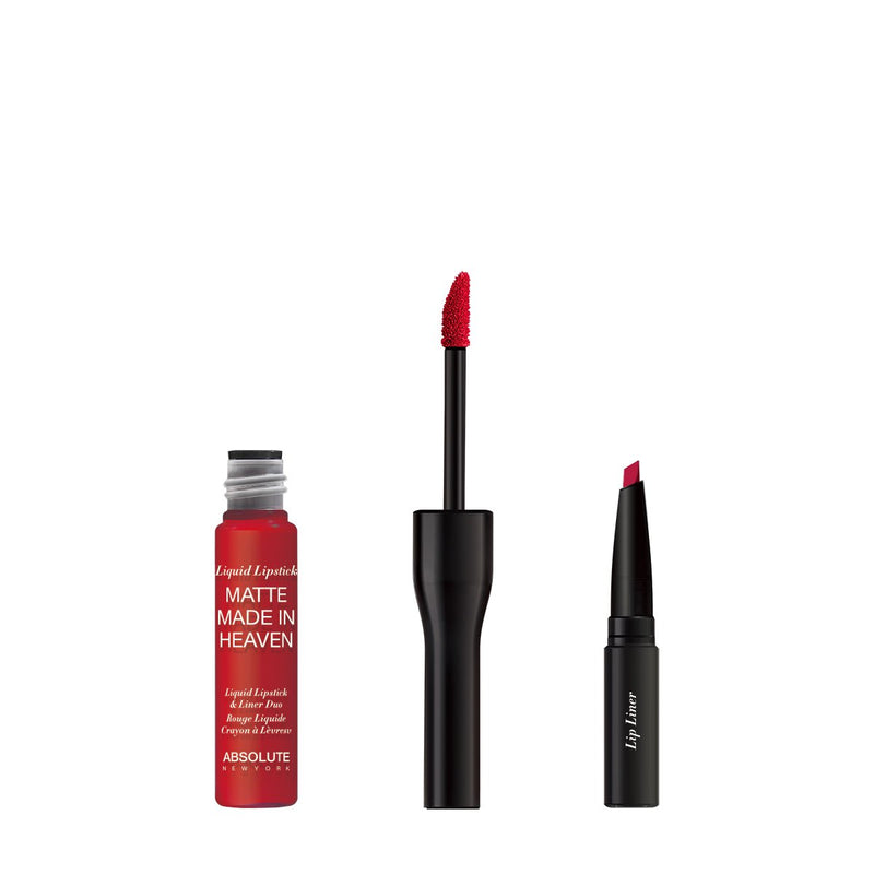 Matte Made in Heaven by ABSOLUTE NEW YORK in Fever (MLIH04) - is a crimson red matte liquid lipstick & liner duo. Twist off to unlock the liquid lipstick or pull off the top to reveal the lip liner.  0.5 ounces / 0.80 grams